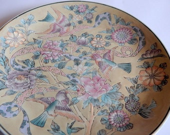 Vintage Japanese Plate Aqua Pink  Oriental  Chinese Asian Plate Home Decor