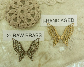 1 filagree butterfly pick aged brass or raw brass finish