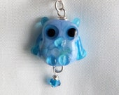 Owl Lampwork Bead Sterling Necklace Aqua and Periwinkle Studio D Beads