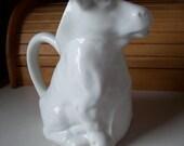 Cow Pitcher, Ceramic, White Stoneware