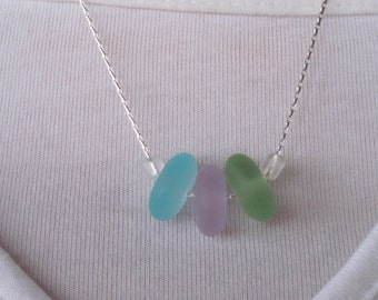 Sea glass rondelle beaded necklace