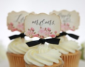 Vintage Floral Wedding Cupcake Toppers, Mr. & Mrs., Love, Happily Ever After, Candy Table, Wedding Decor