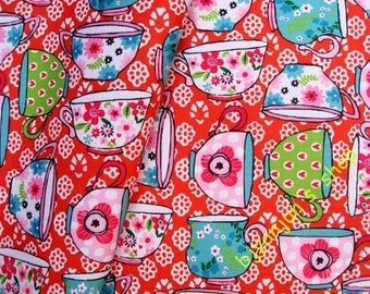 WF240  - Vinyl Waterproof Fabric - Cups and flower on red - 1/2  yard