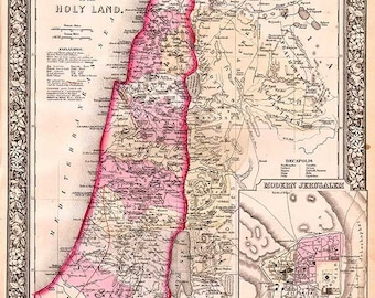 Palestine or the Holy Land 1860 Antique Map by S. Augustus Mitchell - MAP PRINT