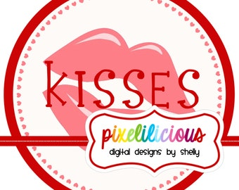 Instant Download - DIY Printable KISSES Iron On Transfer - Digital Image for Tshirts or Bags - Valentines Day