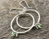 Hammered Silver Hoops Dangle Earrings.  Peridot Drop Earrings. Light Green Gemstone Earrings. Natural Peridot. Fine Silver Jewelry.