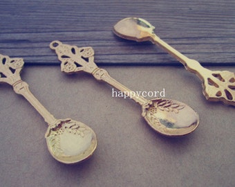 10pcs gold color Spoon Charms pendant 15mmx63mm