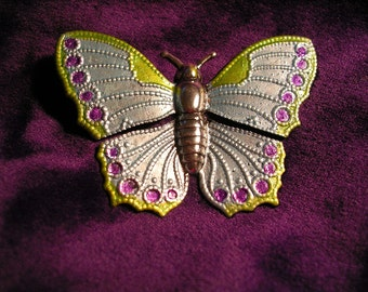 Hand Painted Butterfly Brooch  in Pastel Colors.