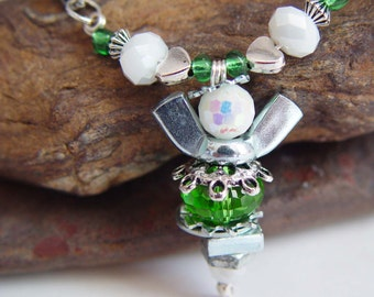 Apple Green and White Beaded Antique Silver Upcycled Wing Nut Angel Necklace