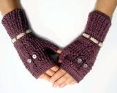 Owl fingerless gloves, mittens, arm warmers, plum, crocheted