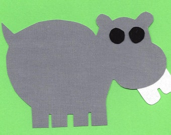 Hippo with big teeth iron on fabric applique DIY