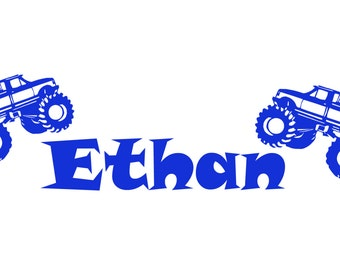 Monster Trucks Personalized custom Name vinyl decal wall art decor removable bedroom decal