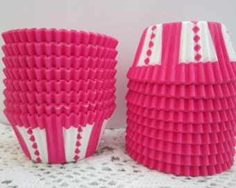 Hot Pink Cupcake Muffin Baking Liners ~ Standard Size ~ Circus Carnival Pattern