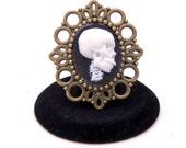 Steampunk Cameo Brooch, Skeleton Brooch, Skull Brooch, Goth Brooch, Lolita Brooch, Rockabilly Brooch, Rocker Brooch, Halloween Brooch