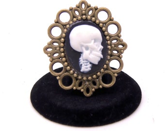 Steampunk Cameo Brooch, Skeleton Brooch, Skull Brooch, Goth Brooch, Lolita Brooch, Rockabilly Brooch, Rocker Brooch, Halloween Brooch