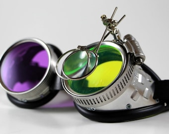 "Victorian Steampunk, Mad Scientist goggles, ""Dr. Jekyll"" XI Green UV Reactive Lens + Purple Lens"