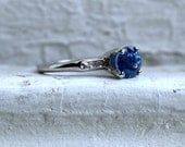 Vintage Sapphire and Diamond 18K White Gold Engagement Ring by Jabel- 1.08ct