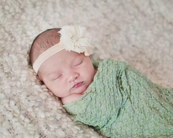 Peach and cream puff headband/ Newborn headband/ baby headband