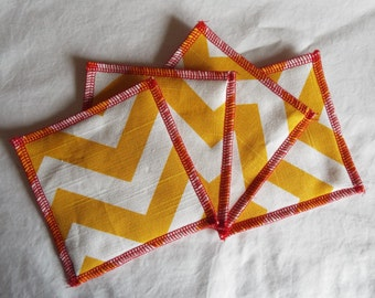 Coasters, Fabric Coasters, Trivets, Set of 4, yellow, chevron, cream, red