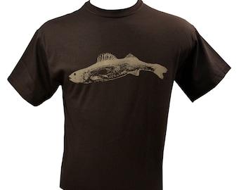 Walleye Fish Men's T-Shirt Screen Printed Pickerell S M L XL 2XL