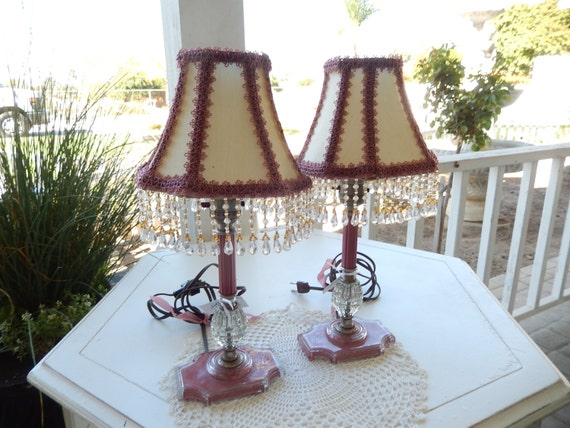 Vintage Boudoir Lamps Small Lamps Bedroom Lamps Pink