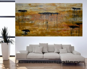 "56""  Original Abstract Painting  Acrylic Painting Large Painting Modern Art  Landscape Handmade by Carola, 56""x28"""