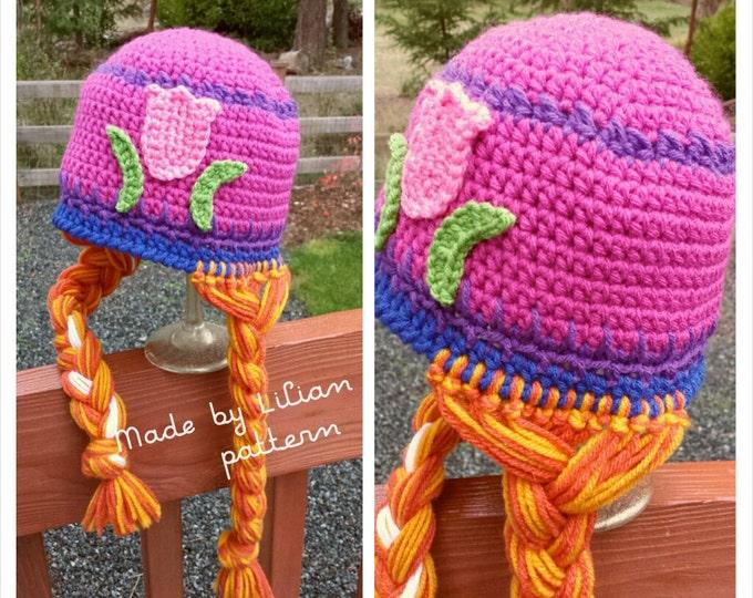 Crochet Hat PATTERN: Princess with braids Inspired hat---PATTERN 2 sizes