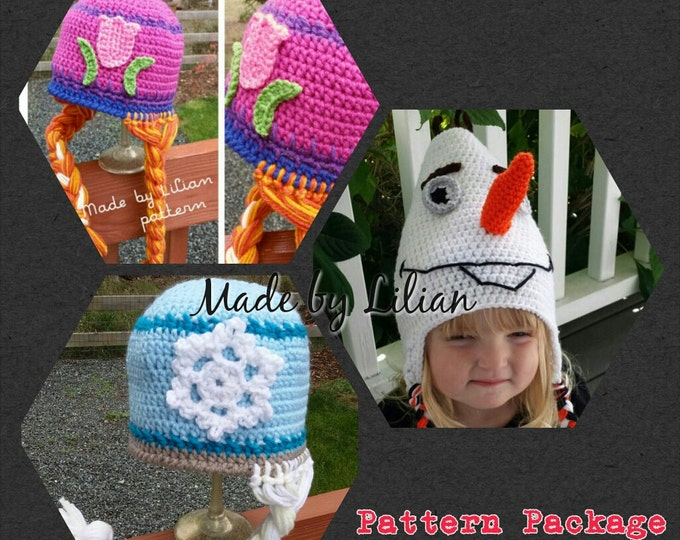 PATTERN crochet hat package-- 3 patterns--Inspired by elsa, anna, and a snowman- all crochet hat beanie patterns