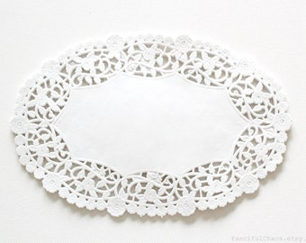 100 White Oval Paper Doily Doilies 6X9 inch