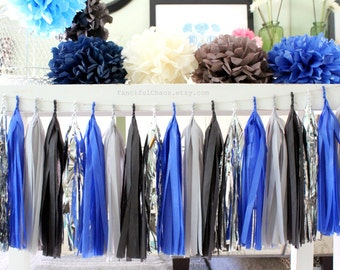 Royal Blue, Grey, Black, Silver Tissue Paper Tassel Garland- Wedding, Birthday, Bridal Shower, Baby Shower, Garden Party Decorations