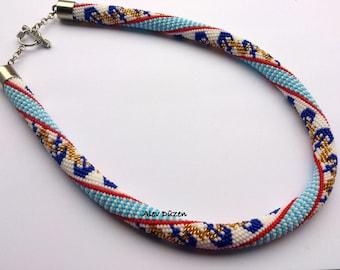 DISCOUNT - Bead Crochet Necklace - Beaded Necklace - Handmade Beadwork Necklace