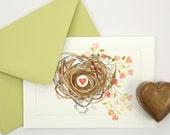 heart nest Valentine love note card set blank folded