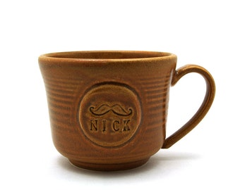 Personalized Mustache Mug, Pottery Coffee Cup with Name, Handmade Husband Gift for Men - Made to Order allow 3-6 Weeks