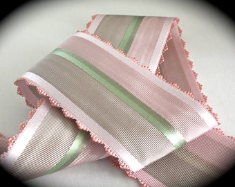 "French Ribbon - 1 yd x 2 3/8"" Pinks, Greens and Taupe 100% Rayon - Made in France"