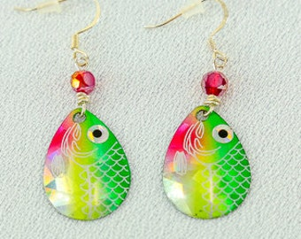 Fish Lure Earrings in a bright green and red!