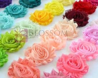 5 YARDS - Chiffon Shabby Rose Trim - U pick colors - Wholesale Bulk - diy Flower Headbands - Shabby Flower Trim - Wedding Flowers Roses