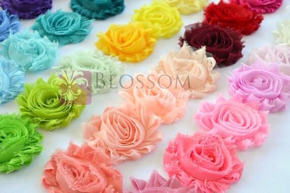 5 YARDS - Chiffon Shabby Rose Trim - U pick colors - Wholesale Bulk - diy Flower Headbands - Shabby Flower Trim