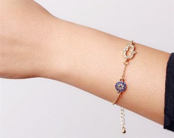 Hamsa evil eye gold bracelet - simply everyday jewelry