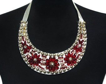 Beaded Necklace Collar with Lacing for Fashion and Crafts