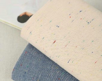 Soft Cotton Fabric Vintage Style Jacquard Weave Colorful dots Clothing Fabric- 2 colors available Fabric 1/2 Yard (QT393)