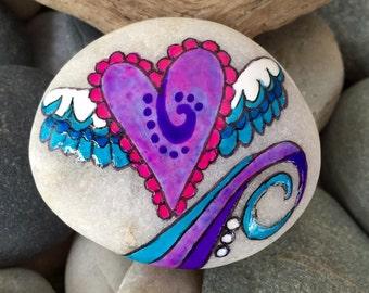 You lift me up / painted rock / painted stone / Sandi Poke Foundas /'sea stone from Cape Cod / rock art