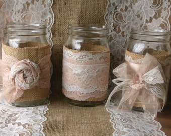 Burlap wedding, VINTAGE lace wedding JARs,  wedding table centerpieces, shabby chic,