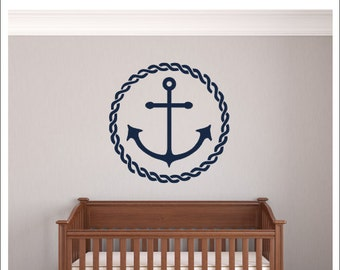 Anchor Wall Decal Anchor Rope Border Nautical Wall Decal Vinyl Wall Decal Nautical Nursery Bedroom Decal Baby Children Wall Decal Housewares