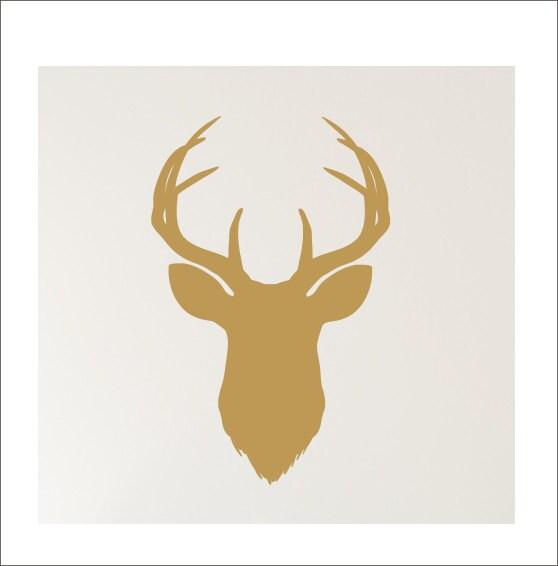 Deer Head Decal Vinyl Wall Decal Gold Vinyl Buck Head