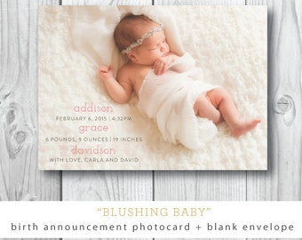 Blushing Baby Announcements