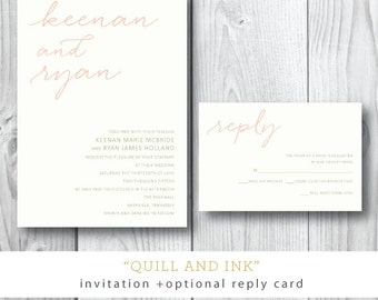 Quill and Ink | Wedding Invitation and additional pieces | Printed or Printable by Darby Cards