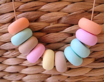 Polymer Clay Bead Necklace- Pastel Colours