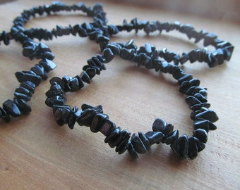 Obsidian Stretchy String Chip Bracelet B80