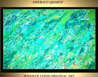 Original Large Abstract Painting Acrylic Oil Painting Modern Canvas Art Green Gold Emerald Quartz  36x24 Texture Palette Knife J.Leigh