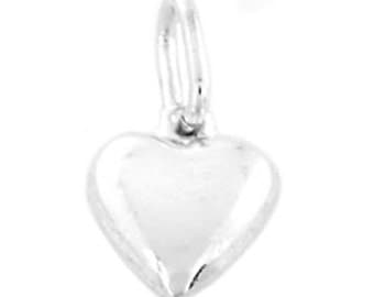 Sterling Silver Puff Heart Charm (Hollow Charm)